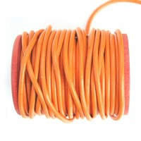 Cordon cuir rond orange 3mm