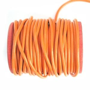 Cordon cuir rond orange 3mm