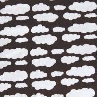 Velours de coton chocolat, motifs nuages blancs
