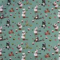 Tissu Gourmandise vert, designer Les Moutons de Kallou