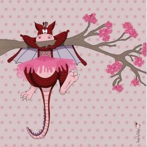 Panneau tissu Dragon, designer Les Moutons de Kallou 40 x 40 cm