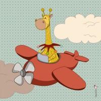 Panneau Girafe en avion, designer Les Moutons de Kallou 40 x 40 cm