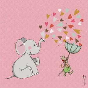 Panneau tissu Elephant amoureux, designer Les Moutons de Kallou 40 x 40 cm