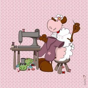 Panneau tissu Mouton couturier, designer Les Moutons de Kallou 26 x 26 cm