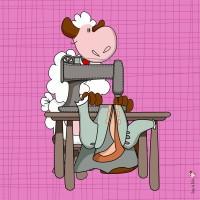 Panneau tissu Mouton costumier, designer Les Moutons de Kallou 26 x 26 cm