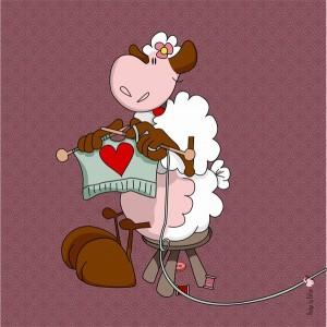 Panneau tissu Mouton tricoteur, designer Les Moutons de Kallou 26 x 26 cm