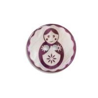 Bouton Matryochka Gravé en Nacre, coloris aubergine