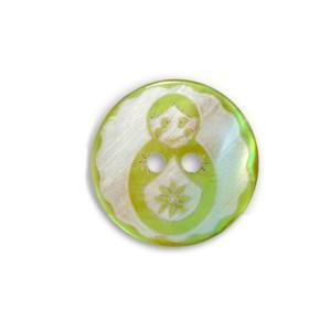 Bouton Matryochka Gravé en Nacre, coloris vert anis