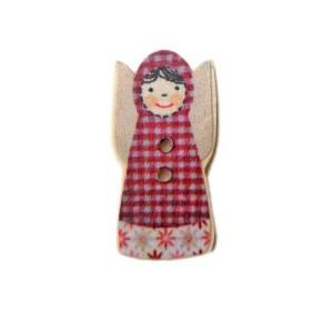 Bouton Matryochka en bois, robe à carreaux