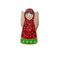 Bouton Matryochka en bois, robe à fleurs