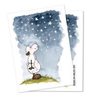 Carte postale mouton aux étoiles