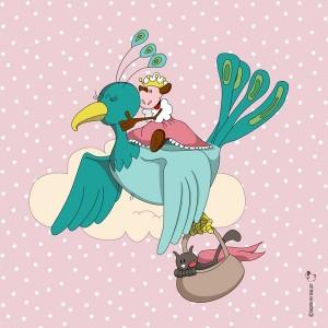Panneau Tissu Princesse à l'oiseau, designer Les Moutons de Kallou 40 x 40 cm