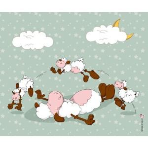 Panneau Saute-Mouton, coloris Anis, designer Les Moutons de Kallou 47 x 40 cm