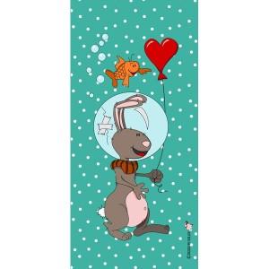 Panneau tissu, Scaphandrier Amoureux, designer Les Moutons de Kallou 19 x 40 cm