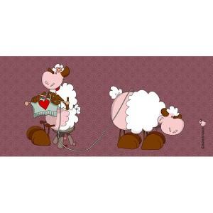 Panneau tissu, Duo au tricot, designer Les Moutons de Kallou 19 x 40 cm