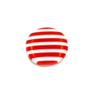 Bouton rond rayé rouge et blanc