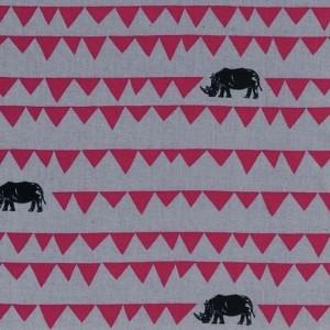 Tissu Rhinocéros, by Echnino, coloris gris et fushia