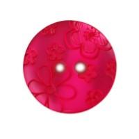 Bouton Fleurs gravées, coloris rose fushia - 18mm
