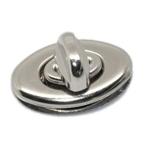 Fermoir argenté pour sac à main, verrou oval 35 mm Modele S