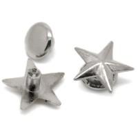 Rivet argenté en forme d'étoile. Lot de 10.