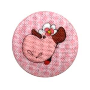 Bouton recouvert Mouton, coloris Rose Perle