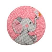 Bouton recouvert Eléphant, coloris Rose