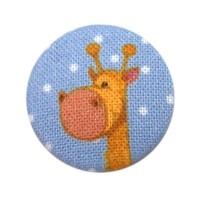 Bouton recouvert Girafe, coloris bleu