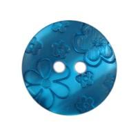 Bouton Fleurs gravées, coloris bleu canard - 18mm