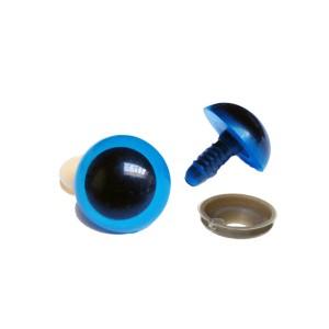 Yeux sécurité bleus 12mm pour peluche, pupille ronde  (3 paires)