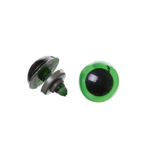 Yeux sécurité vert 12mm pour peluche, pupille ronde  (5 paires)
