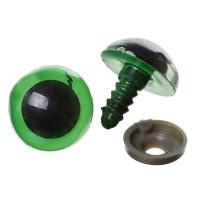 Yeux sécurité vert 16mm pour peluche, pupille ronde  (2 paires)