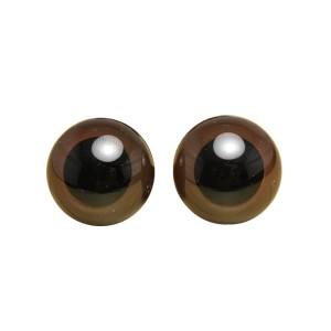 Yeux sécurité Marron 15mm pour peluche, pupille ronde  (2 paires)