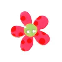 Bouton Fleur à pois, coloris rose fushia - 20mm
