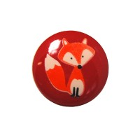 Bouton Renard, coloris rouge bordeau