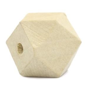Perle géométrique en bois naturel, à facettes, 25 mm (lot de 5)