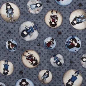 Dernier coupon : Tissu Gorjuss, médaillons sur fond gris (x 44 cm)