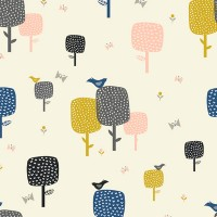 Tissu forêt graphique, collection September blue, designer Dashwood Studio