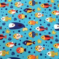 Jersey poissons multicolores, tissu bio