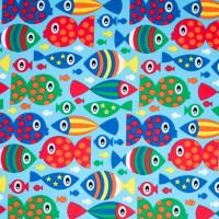 Jersey poissons rigolos, tissu bio