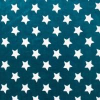 Velours de coton Petrole, motifs étoiles blanches