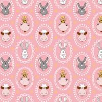 Tissu Animaux en médaillons rose, designer Les Moutons de Kallou