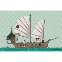 Panneau tissu, Bateau Pirate, designer Les Moutons de Kallou 39,5 x 26,5 cm