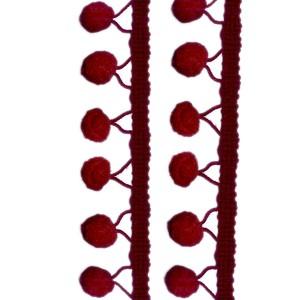 Galons Gros Pompons, coloris rouge Burlat