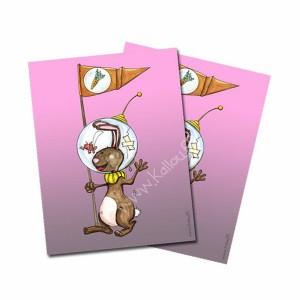 Carte postale lapin Astronaute