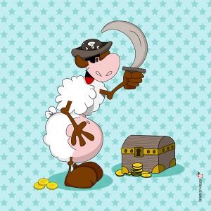 Panneau Pirate à l'épée, designer Les Moutons de Kallou 40 x 40 cm