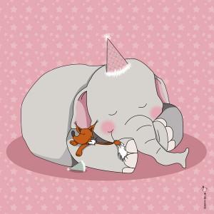 Panneau tissu Elephant et renard endormis coloris rose, designer Les Moutons de Kallou 40 x 40 cm