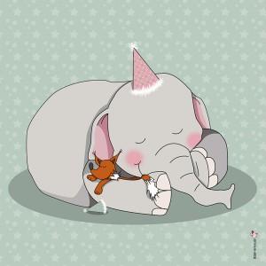 Panneau tissu Elephant et renard endormis coloris céladon, designer Les Moutons de Kallou 40 x 40 cm