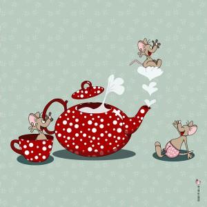 Panneau tissu Souris d'Alice coloris céladon, designer Les Moutons de Kallou 40 x 40 cm