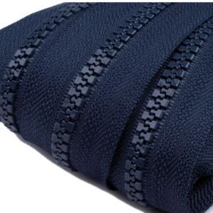 Fermeture éclair bleu marine, dents de 5mm, fermeture au mètre, vendue par tranche de 25cm (sans tirette)