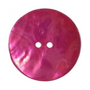 Bouton Rond en Nacre, coloris rose fushia, 18mm